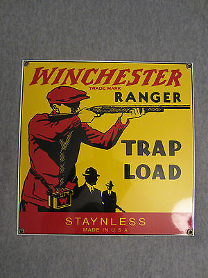 Vintage Winchester Trap Load Box Heavy Porcelain Outdoor Sign Last Man Standing!
