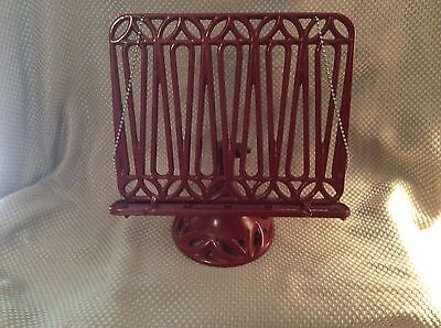 Heavy Cast Iron Red Recipe Holder Stand Easel With Weights