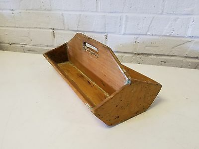 Primitive Vintage Wooden Tool Box Cutlery Caddy with Handle