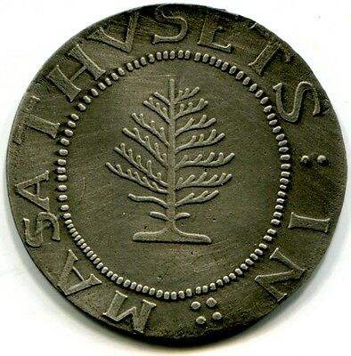 "Struck souvenir of ""1652"" large planchet Pine Tree Shilling, by Tatham Coin Co."