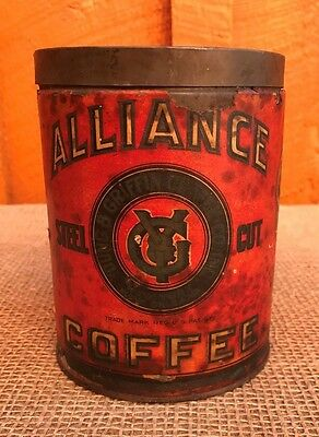 Antique/Vintage Alliance Coffee Tin by Young & Griffin Coffee Co - RARE