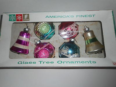 Vintage lot 6 Glass Christmas Ornaments Franke  Bells Indent Stencil VGC