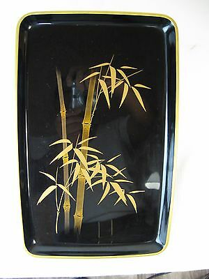 "Japanese Tea Ceremony Lacquered Tray Gilt Bamboo, 13 1/4"" Long"