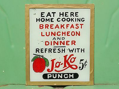Great Folk Art 1920-30′s Reverse Painted Glass Diner Sign