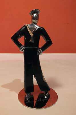 VTG Hagenauer Singing Sailor Figure Figurine Austria Art Deco Black Chrome 12cm