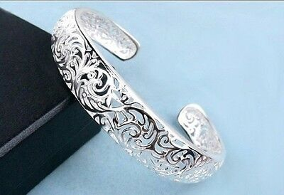 Hollow Silver Plated  Bangle Cuff Flower Design Adjustable