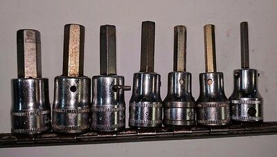 Snap on 7 Piece Allen Hex Bit Socket Driver Set 4-10mm