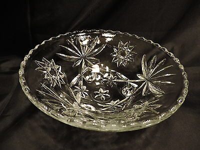 Vintage EAPC Anchor Hocking Glass Footed Berry Serving Bowl Star of David 6 3/4