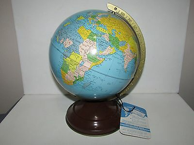 "Very Good Cond 1950's Simplified 8"" Replogle Globe with Original Tag - Metal Tin"