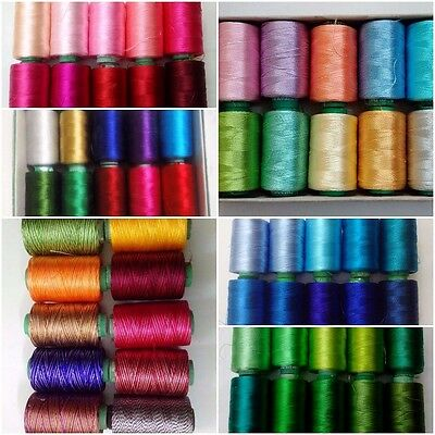 LOT SET of 10 - 150/2 Denier Viscose Rayon Thread Yarn Hand Machine Embroidery