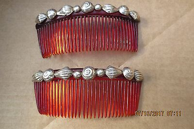Pair Of Classic Early Mexican Scarce Red Hair Combs With Sterling + 1 Free