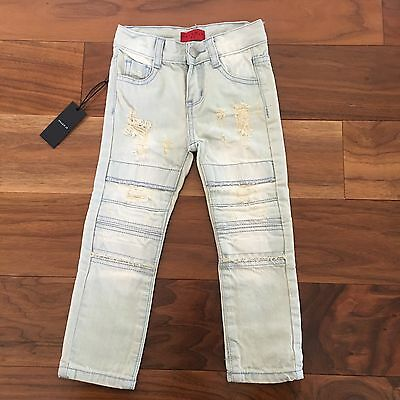 Haus Of Jr Kids Unisex Distressed Denim Skinny Jeans 3T Light Blue New
