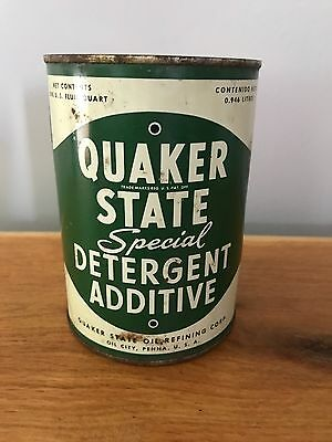 Quaker State Antique Special Detergent Additive Oil Can RARE Quart 1940-50!!!!