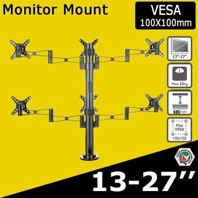 "10-27"" Tilt Swivel 6 Arm LED LCD Screen Monitor Stand Bracket Computer Display"