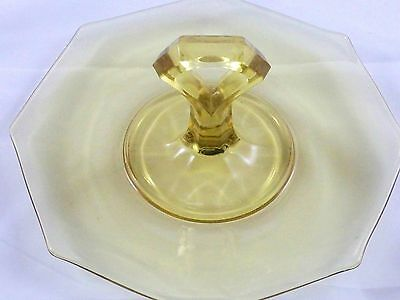 Antique Depression Glass Octagon Center Handle Yellow Serving Dish