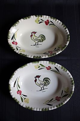 Vintage Blue Ridge Pottery Rooster Cock O' The Walk Hand-Painted Vegetable Bowls