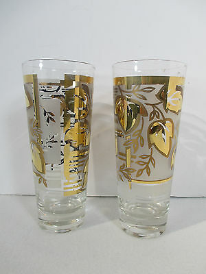 Tumblers Cocktail Glasses Federal Glass Gold Leaf Philo Sky Ball Set of 7 in Box