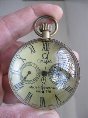 Chinese Old antique brass clock round spherical glass mechanical pocket watch