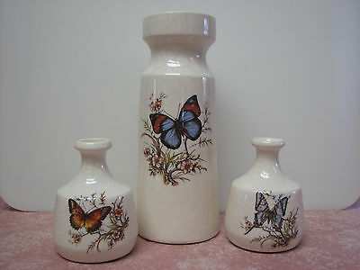 3 Vintage Treasure Craft Pottery Butterfly Vases