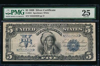 AC Fr 281 1899 $5 Silver Certificate PMG 25 CHIEF NOTE