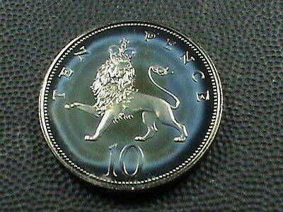 GREAT  BRITAIN    10  Pence    1984    PROOF   ,   AWESOME  BLUE  TONE ,  UNIQUE