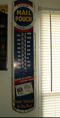 """Vintage Mail Pouch Tobacco Thermometer Treat Yourself to the best 38"""" Sign"""