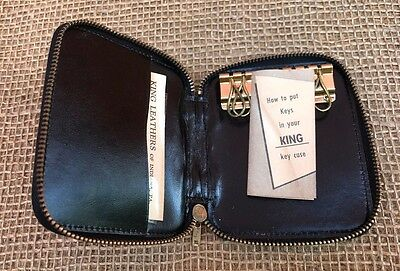 Vintage Leather Key Tainer/Holder by King Leathers of Indiana, PA - Black