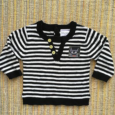 Baby Boy Size 00 Black And White Stripe Jumper