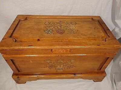 Wood Trunk Hope Dowry Chest Hand Carved Signed Wood Habersham Vintage USA Old