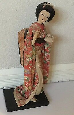AUTHENTIC NYLON ASIAN JAPAN DOLL w Painted Face Red Elaborate Silk Kimono Outfit
