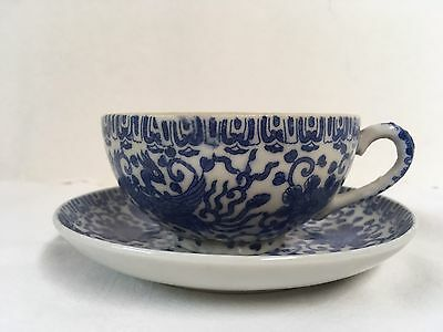 Vintage Cup And Saucer Blue And White With Birds Japan