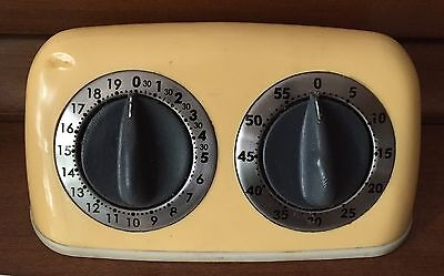 Vintage AMCO Yellow TWO TIMER double Kitchen TIMER