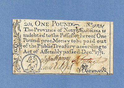 1771 North Carolina 1 Pound Colonial Currency Extra Fine Sharp Bright Note !
