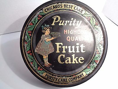 ANTIQUE PURITY CAKE COMPANY FRUIT CAKE TIN~Round~CHICAGO'S BEST CAKE~Channell