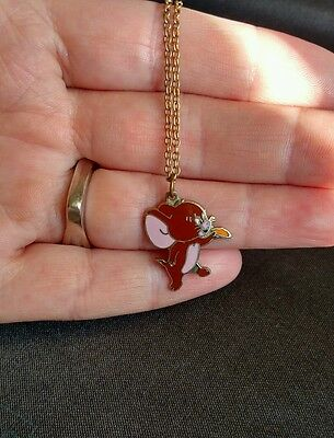 Vintage Jerry Mouse necklace MGM Inc Tom & Jerry charm chain cat mouse mice cute
