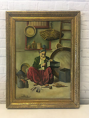 Antique Oil on Canvas Signed Painting of Asian Man Blacksmith w/ Tools