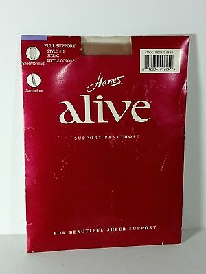 Hanes Alive Support Pantyhose Style 811 Size C Little Color Sandalfoot Sheer