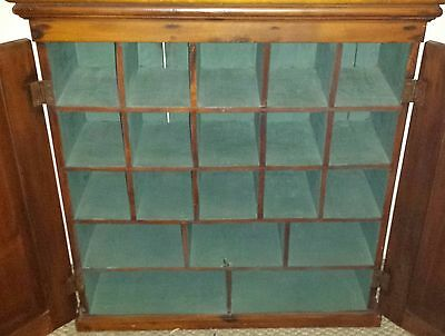 19th Century Pigeon Hole Double Door Hanging Cupboard Old Blue Paint