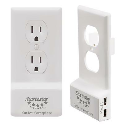 Startostar Easy Install Outlet Cover Plate with Dual High Speed USB Chargers...