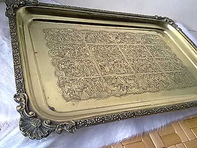 Vintage Cairo Egyptian Solid Brass 1920s Art Deco Tray World Tour