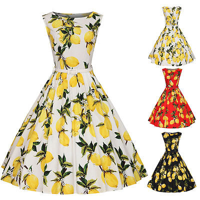 Womens Lemon Floral 1950s Vintage Rockabilly Pinup Housewife Party Swing Dress