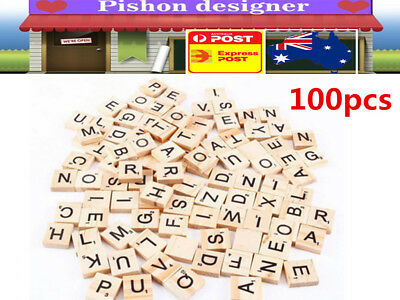 Wooden Alphabet Tiles Black Letters & Numbers For Scrabble Children Talent Toy