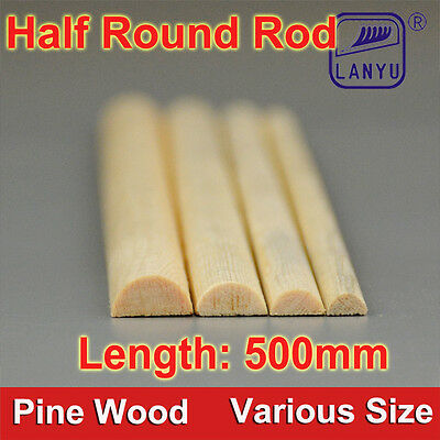 500mm Pine Half Round Wood Rod DIY Craft Molding Wood Building Construction