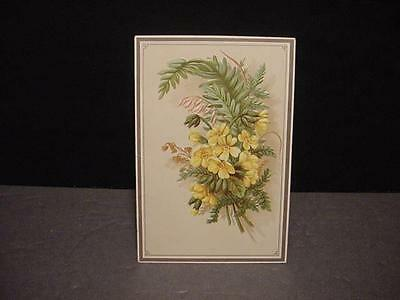 Vintage/Victorian TRADE CARD: LION COFFEE-Embossed Yellow Flowers+Greenery-Nice!