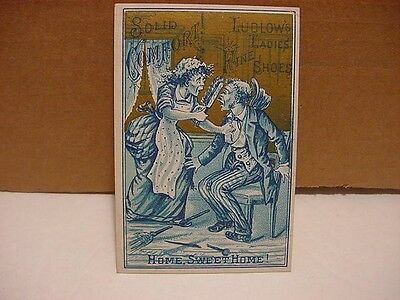 Vintage Victorian TRADE CARD: LUDLOW'S Ladies' Shoes-Hall+Nichols, BELOIT, WI