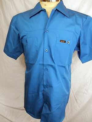 AS NEW! Route 66 Blue Cotton Poly Rockabilly Hot Rod Short Sleeve Work Shirt M