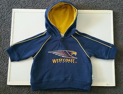 Size 0 West Coast Eagles Offical AFL Hoodie 6-9 Months Boys Winter Baby Jumper