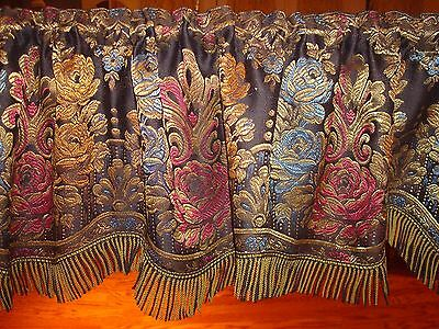 """Antique French Victorian Silk Damask Floral Window Valance~Mint & Gorgeous  77"""""""