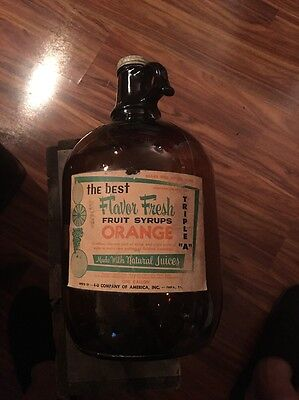 Rare 4-U Orange Soda Syrup Amber Gallon Jug