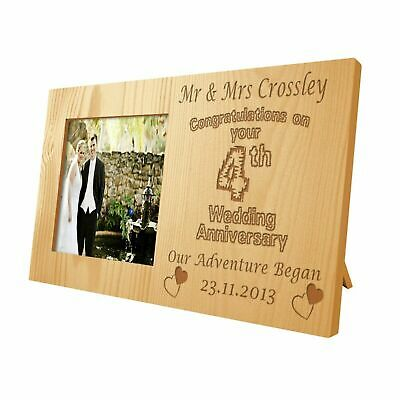 Engraved Fourth Wedding Anniversary Wooden Photo Frame Gift 4th Linen Present 17 99 Picclick Uk